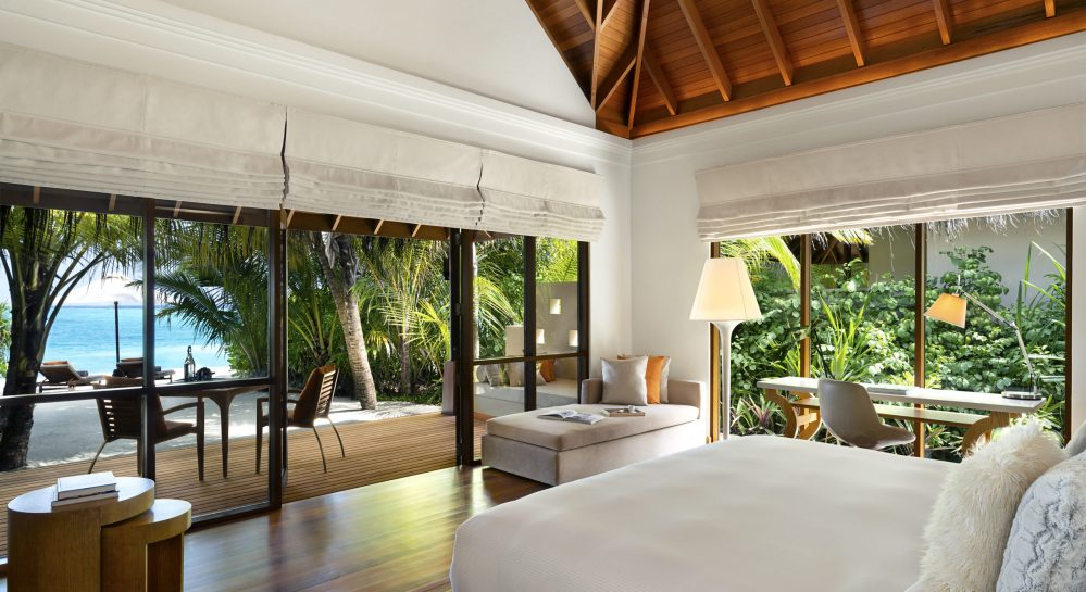 1 Huvafen Fushi Beach Bungalow with Pool Bedroom View