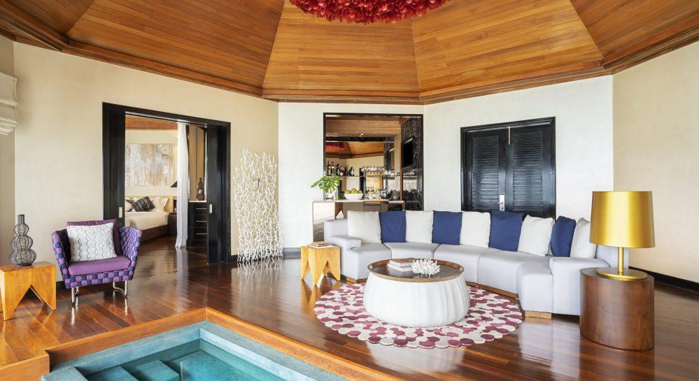 3 Huvafen Fushi Two Bedroom Ocean Pavilion Living Room Rear