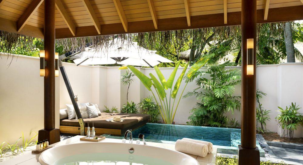 4 Huvafen Fushi Beach Bungalow with Pool Outdoor Bathroom _ Plunge Pool