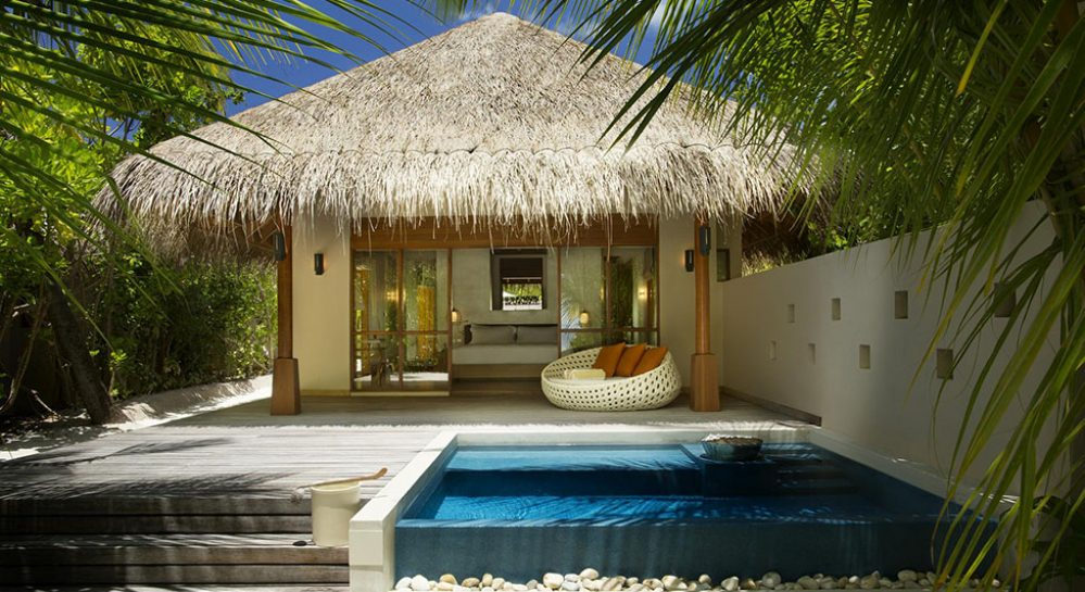 4 Huvafen Fushi Deluxe Beach Bungalow with Pool Exterior View._