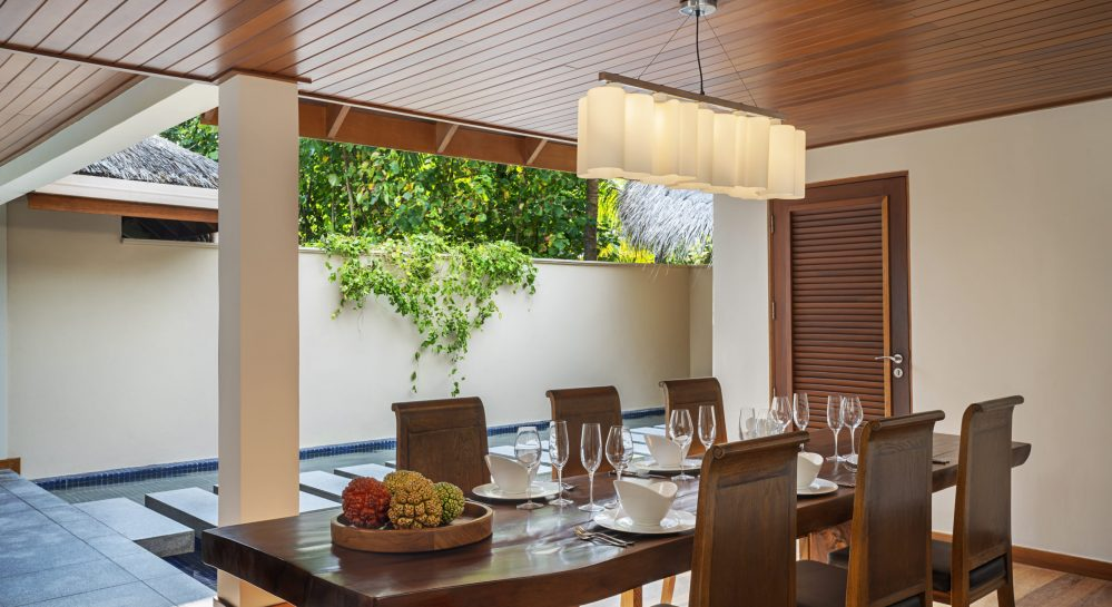 6 Huvafen Fushi Two Bedroom Beach Pavilion Outdoor Dining Area